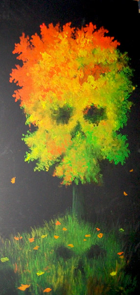 Rasta Skull Tree Live Art piece