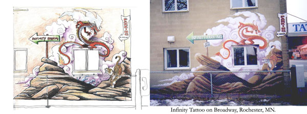 The Drawing and Mural  at Infinity in Rochester, MN